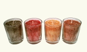 4 Vanilla Hand Poured Palm Wax Votive Candles with Glass Holders
